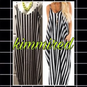 🆕Black/White Striped Maxi Dress~XL*FLAWED & FIRM*
